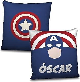 LolaPix Cojín Superhéroes Personalizado con Nombre. Regalo Friki. Varios Diseños a Elegir. Capitán América