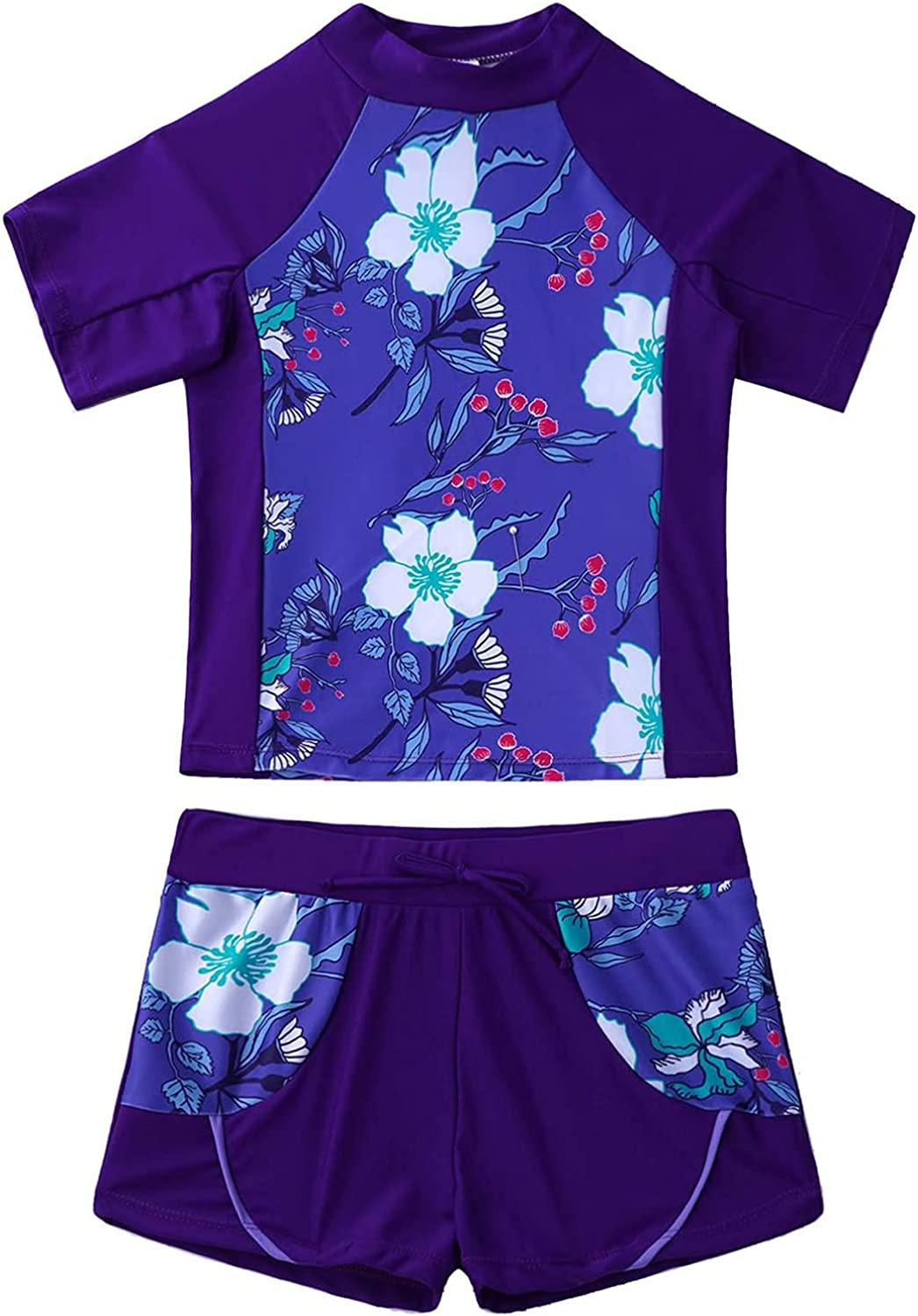 MSemis Kids Girls Floral 2 Pieces Sets Sleeve Rash Short Guard T Sale special Industry No. 1 price