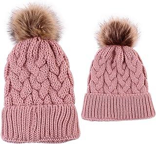 ROSEBEAR Ensemble de bonnet d'hiver pour parent-enfant avec pompon en fourrure Gris