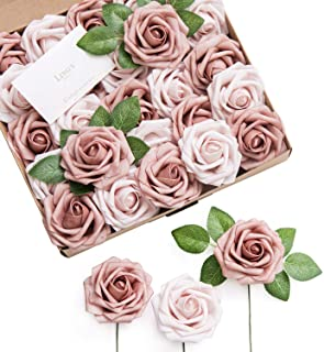 Ling`s moment Artificial Flowers Warm Taupe & Nude Roses 25pcs Real Looking Fake Roses w/Stem for DIY Wedding Bouquets Centerpieces Arrangements Party Baby Shower Home Decorations