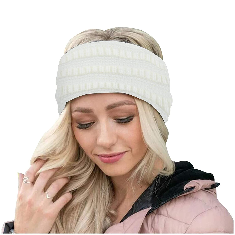 Womens Winter Ear Warmer Headband - Warm Winter Cable Knit Headband, Soft Stretchy Thick Fuzzy Headwrap Earwarmer (04-White)