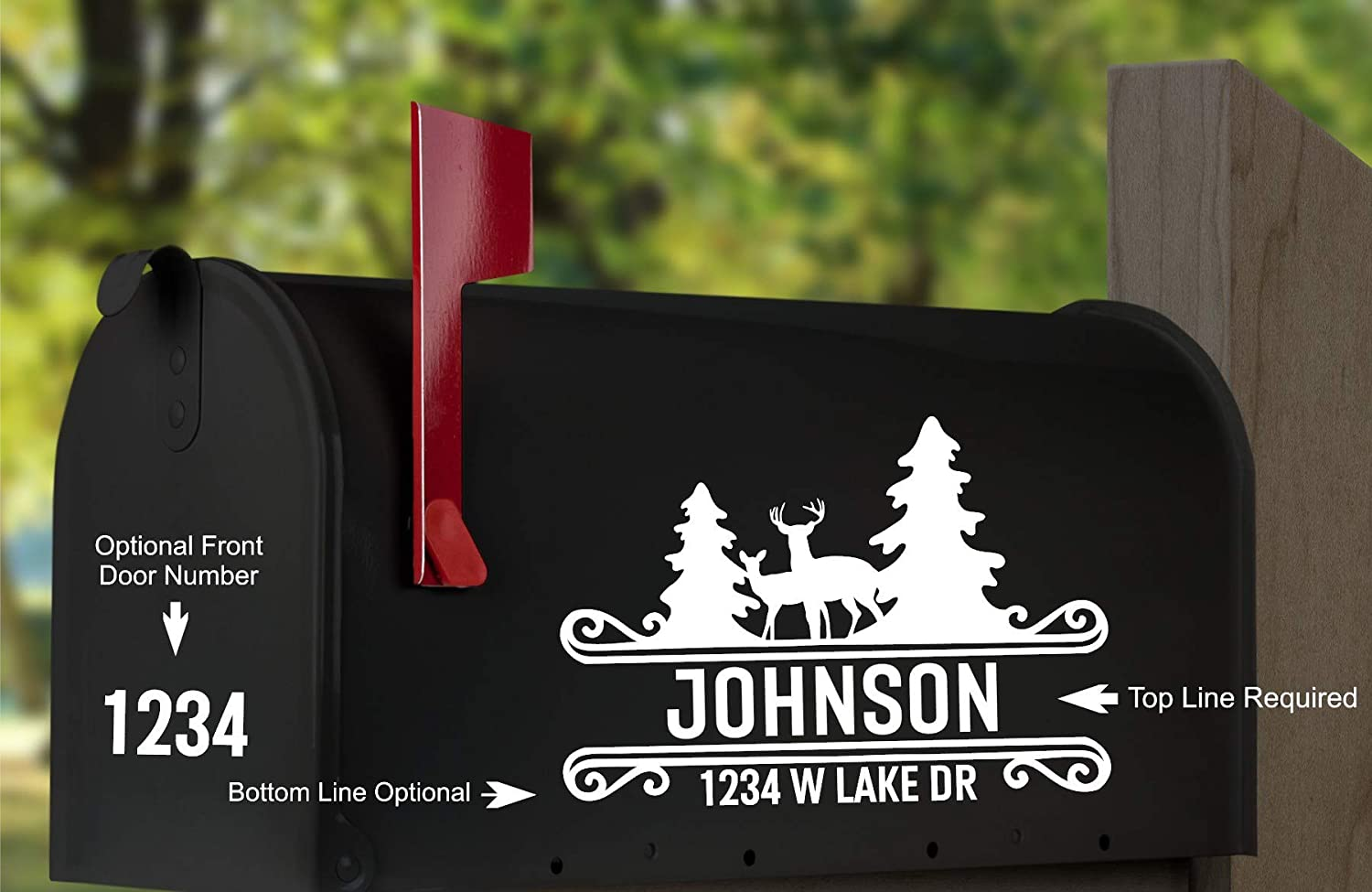 Mailbox Numbers Sale item Street Address Decal depot - In Woods Forest Tree Deer