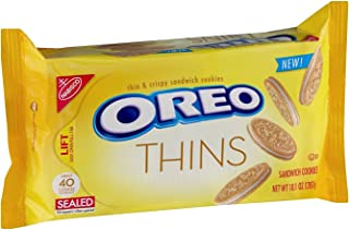 Nabisco Oreo Thins, 10.1 Ounce Bags (Pack of 4) Golden Vanilla Sandwich Cookies