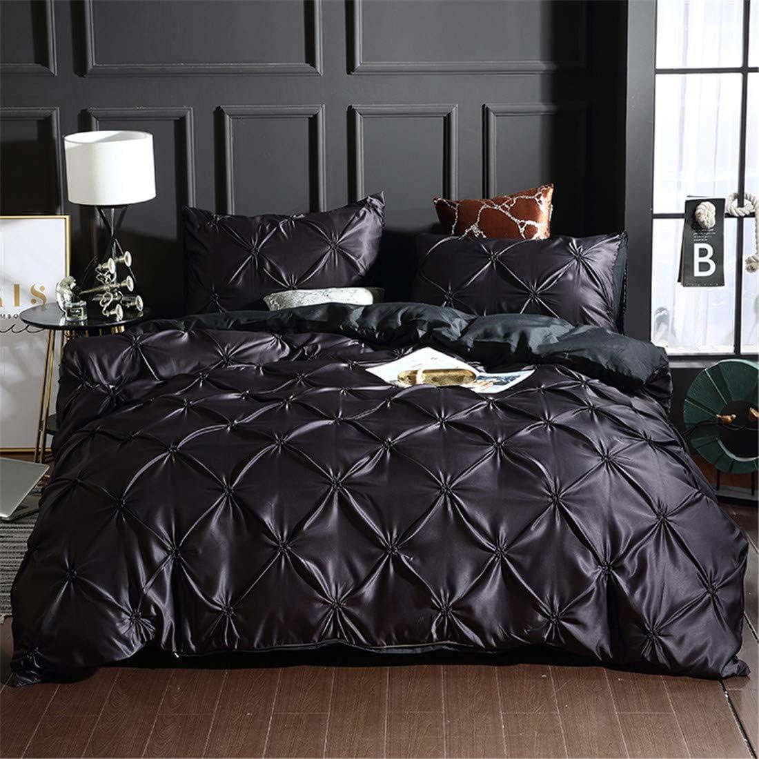 Pinch Pleated Duvet Cover Set Black Memphis Mall Pi Size Silk Like Twin Satin Tulsa Mall