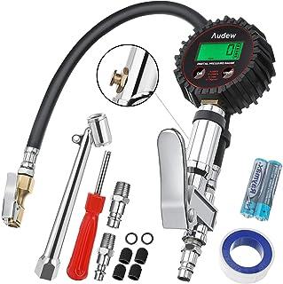 Audew Miernik ciśnienia w oponach o pojemności 250 PSI, 17 bar, cyfrowy miernik ciśnienia w oponach, do samochodu, motocyk...