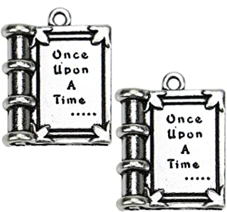 Pomeat 20Pcs Book Charms Antique Silver Tone Book Charms Pendant for Jewelry Making Bracelet DIY Crafting