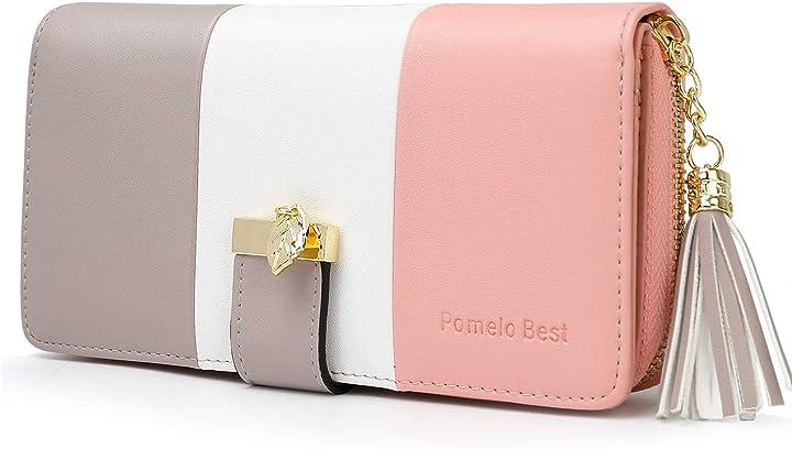 Portafoglio donna pelle sintetica lungo con pendente portamonete chiusura con cerniera (a rosa) RJ-KB-200-0292-fr