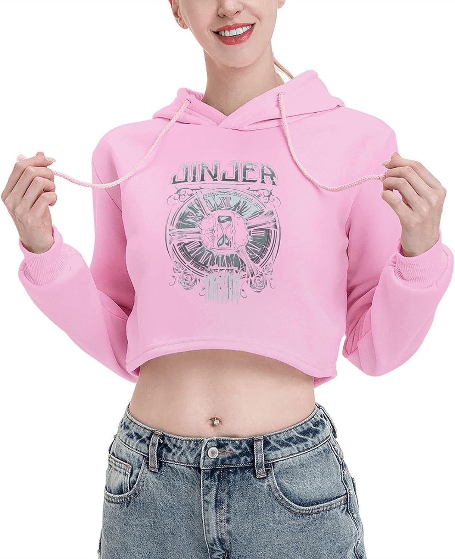 EUBCS Women Jinjer Long Sleeve Cute Cat Ear Crop Top Sweatshirt