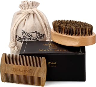 BFWood Beard Brush and Comb - Military Style Beard Brush & Sandalwood Beard Comb