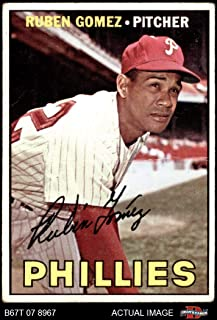 1967 Topps # 427 COR Ruben Gomez Philadelphia Phillies (Baseball Card) (Has Both Lines under Stats on Back & also the Career Stats) Dean`s Cards 2 - GOOD Phillies