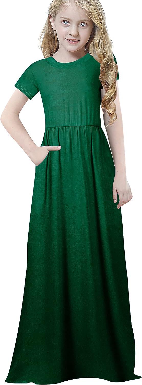 Eastaisn Girl's Long Sleeve Maxi Dress Dress with Pockets Loose Casual Summer Dress