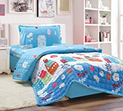 Kids 3Pcs Compressed Comforter Set, Single Size, Homes 2 By Moon, Blue, Microfiber