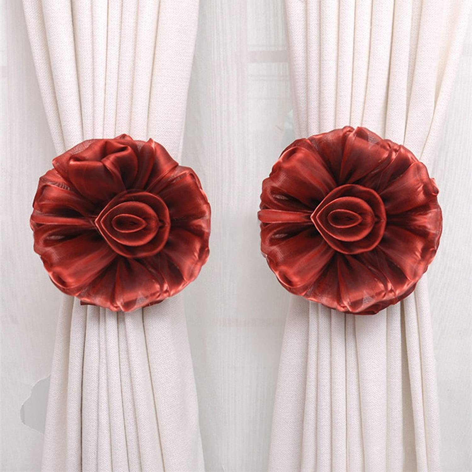 Quaanti Clip-On Flower Tie Backs Flower Curtain Holdback for Voile & Net Curtain Panels, Curtain Tiebacks Holders Shower Curtain Hooks Holdback for Decoration (Wine) ufkt569044641