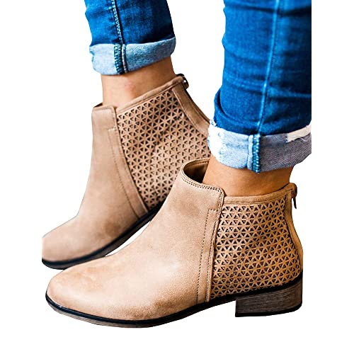 4b1d26dc3bc Boots for Women Ankle Booties Low Heel Western Side Zipper Pointed Toe  Solid Color