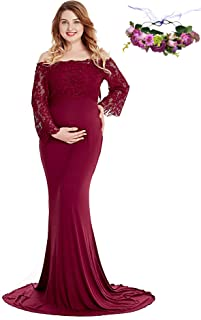 YOFEEL Women's Lace Off Shoulder Long Sleeve Maxi Maternity Gown Photography Dress