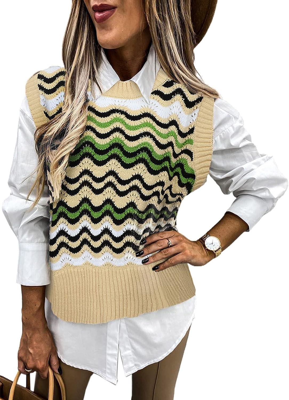 Astylish Women Sleeveless Sweater Vest Casual Print Knit Tank Top