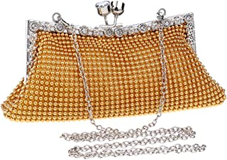 HUIfenghe Ladies Fashion Rhinestone Crystal Chain Shoulder Diagonal Banquet Party Evening Bag Dress Wedding Celebration Bride Clutch Bag Size: 22 * 4 * 9cm (Color : Gold)