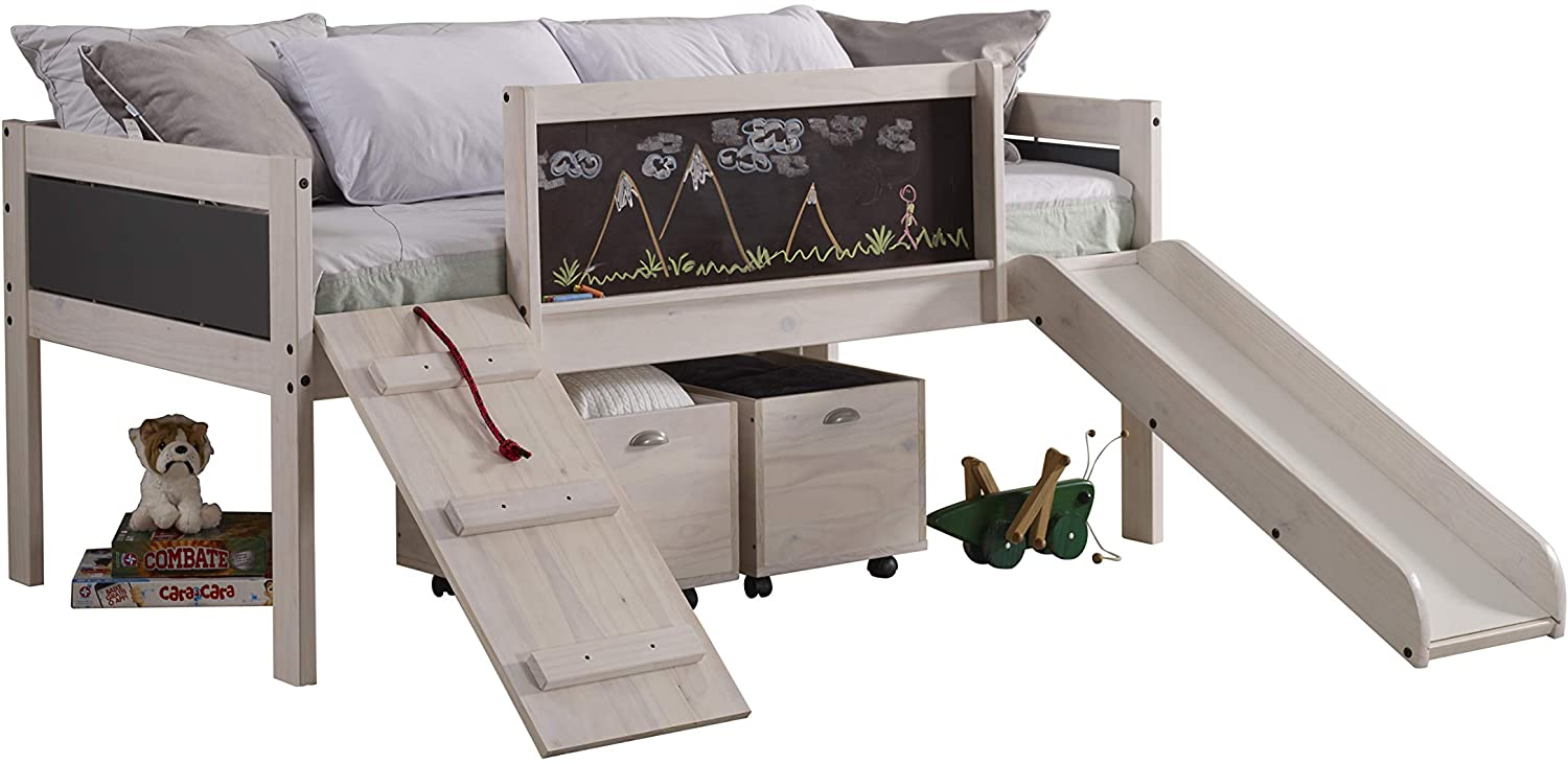 Donco Kids 3005-3005C-TLWWDG Twin Art Play Junior Low LOFT with Toy Boxes Dark Finish, White Wash/Grey