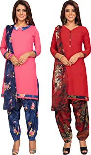 S Salwar Studio Women's Pack of 2 Synthetic Printed Unstitched Dress Material Combo-MONSOON-2853-2866