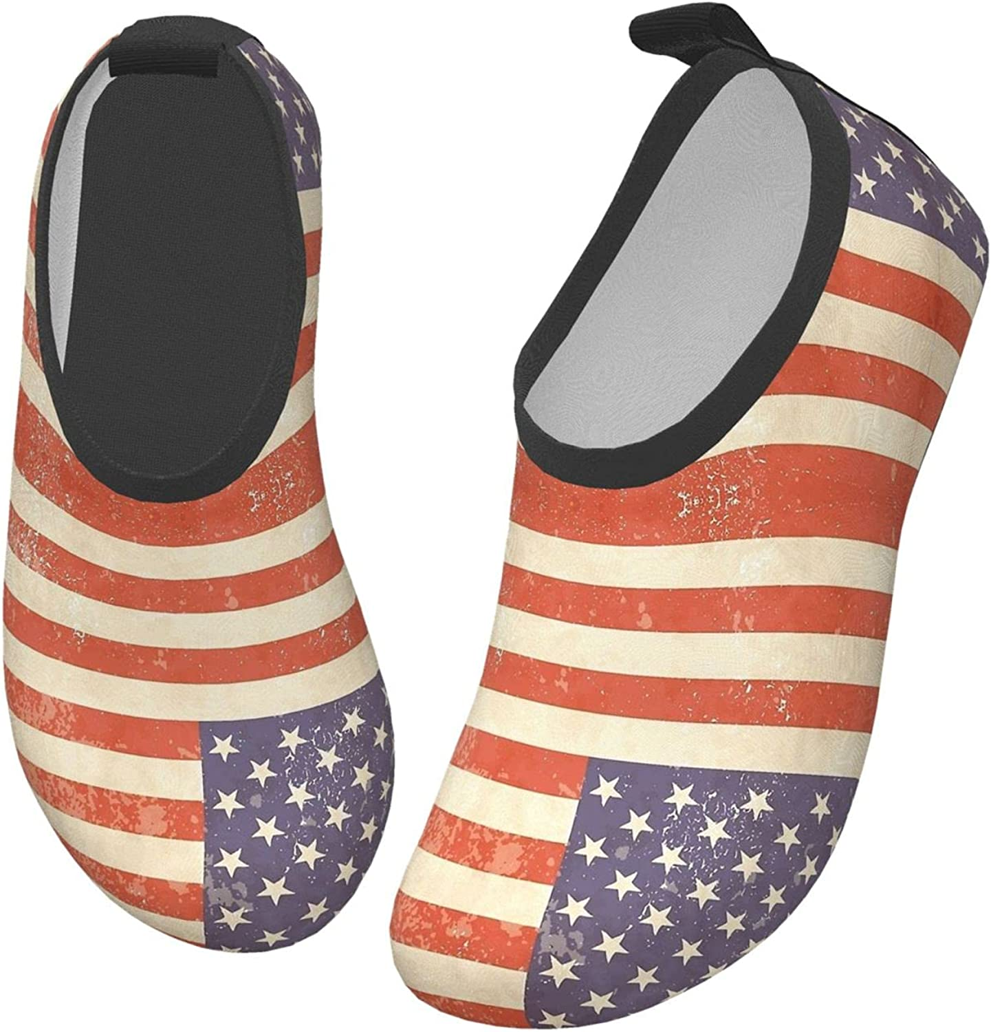 Vintage Retro American America US Flag Water Shoes for Kids Beach Sports Aqua Socks Swim Shoes for Boys Quick-Dry Barefoot Yoga Surfing with Drainage