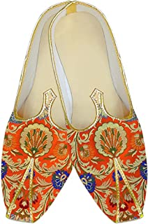 INMONARCH Mens Orange Kheenkhap Wedding Shoes Ethnic MJ18417