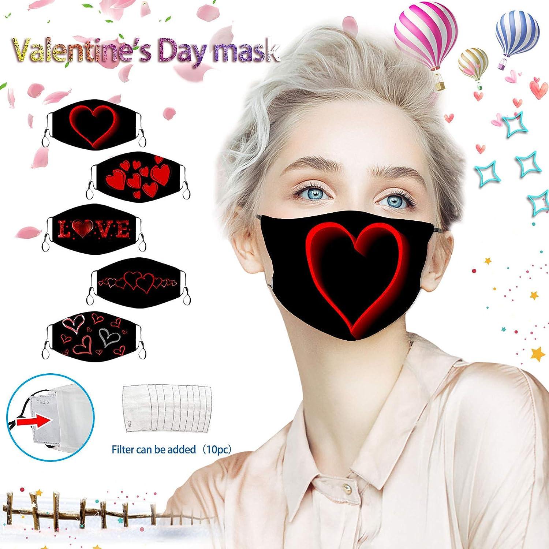 5PCS+10 Valentine's Day Face Bandana Cotton Face Balacavas- Unisex Cute Heart Neck Gaiter- Reusable Dustproof Face Balacavas for Outdoor Activities
