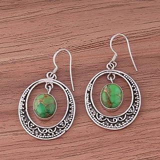 Plata de ley 925, pendientes colgantes, pendientes ovalados de turquesa verde, pendientes colgantes Plata Aretes, Sterling Silver Earrings for Women