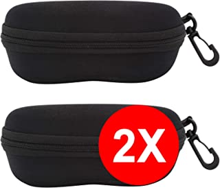 Funda Rígida Gafas de Sol - [Pack 2 Unidades] Estuche Negro Ligero con Cremallera para Cinturón Bolso Mochila Coche para Guardar Gafas de Ver Lectura Natación Grandes Pequeñas Hombre Mujer Niño