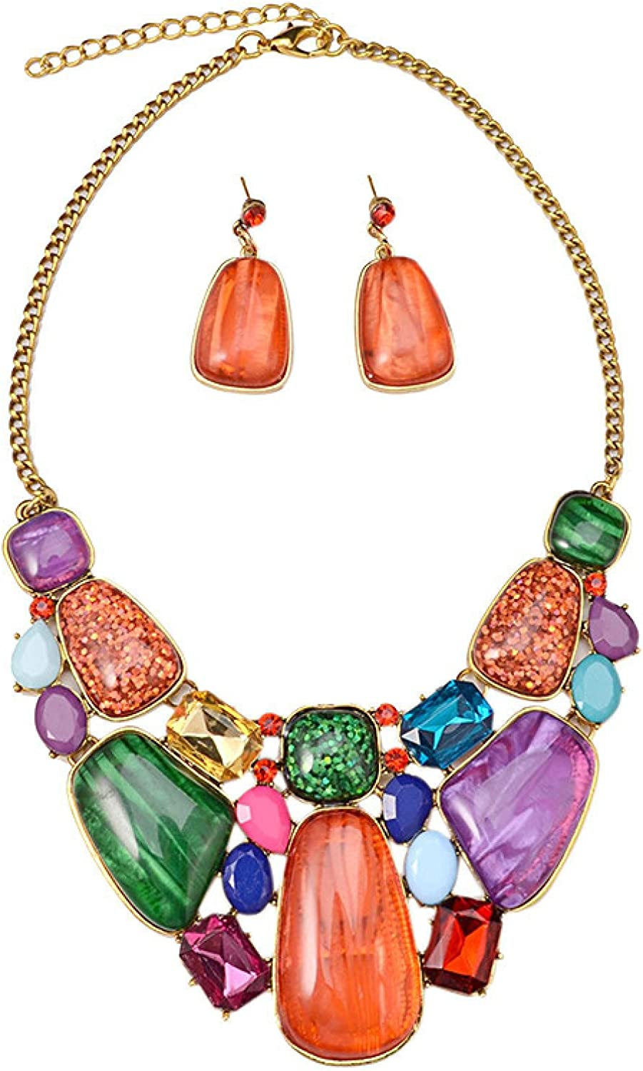 colorful gem statement necklace & pendant wedding jewelry sets vintage chokers maxi necklace collar