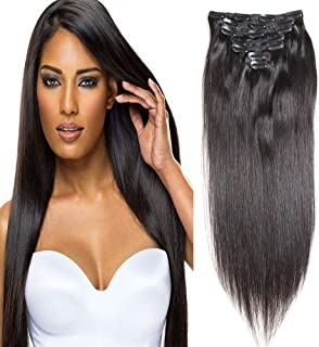 100% Human Hair Brazilian Straight Clip In Human Hair Extensions 16
