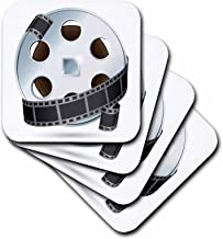 3dRose cst_159179_2 A Silver and Black Movie Reel Soft Coasters, Set of 8
