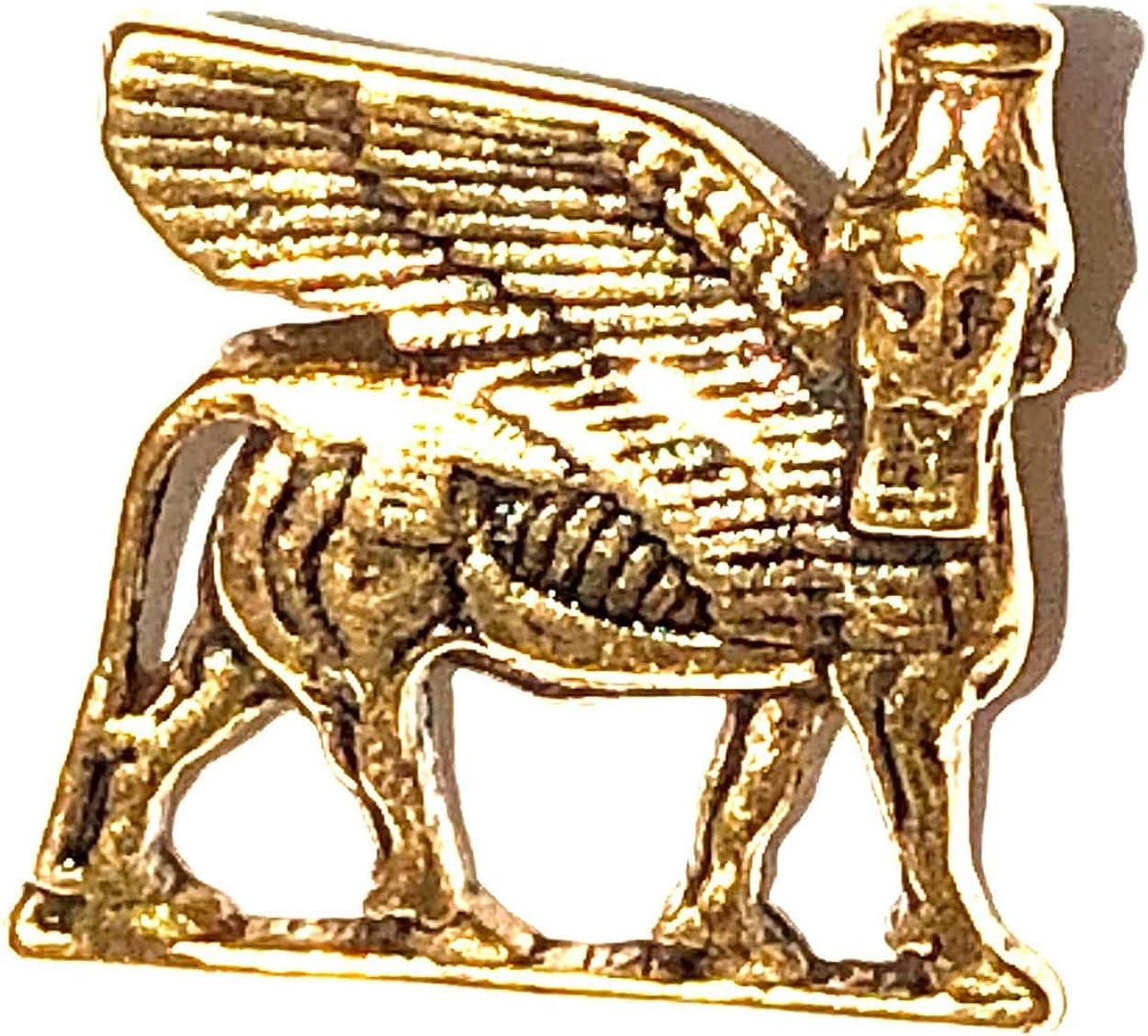 Assyrian Neoclassical Lamassu Winged Bull Tie Ha Charlotte Mall Lapel Pin Tack security