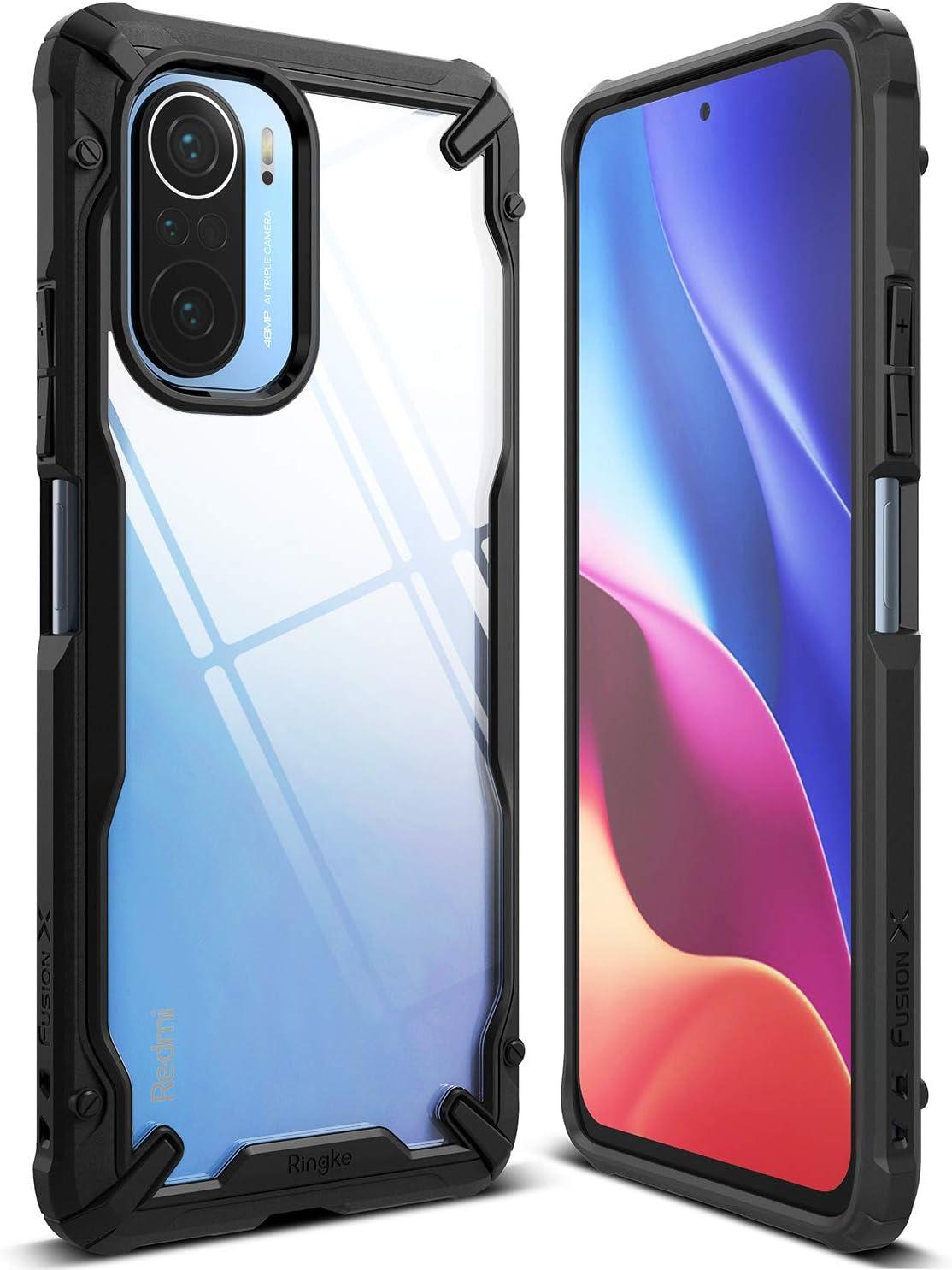 Ringke Fusion-X Compatible con Funda Xiaomi Poco F3, Compatible con Funda Xiaomi Mi 11i (6,67 Pulgadas), Trasera Transparente Parachoque a Prueba de Golpes Carcasa Protectora - Black