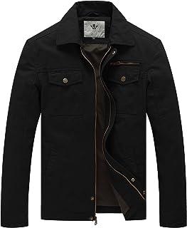 WenVen Men's Outdoor Lightweight Jacket Casual Cotton Coat Windproof Warm Jackets Multi Pockets Jacket