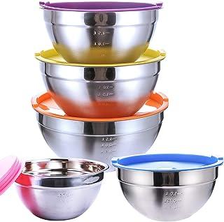 SaiXuan Lot de 5 Bol Acier Inoxydable avec Coloré Couvercles,Bol À Soupe, Saladier,Bol à Céréales, Bol À Dessert,Snack Bo...