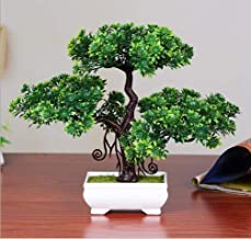 DecoratingLives Artificial Bonsai Welcoming Fake Tree Green Plant Pine Trees Plastic Potted Decoration (24cm*29cm*8cm)