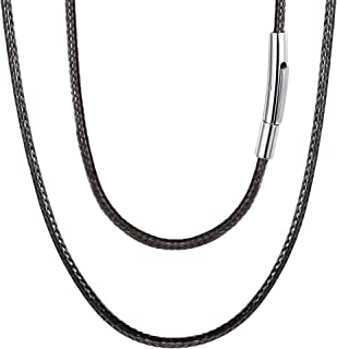 FOCALOOK 2mm Braided Black Cord Rope Chain Necklace with Stainless Steel Clasp 4.2mm (18-30 inch)