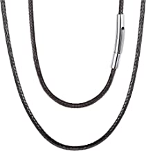FOCALOOK Braided Leather Cord Necklace 316L Stainless Steel Sturdy Snap Clasp,16-30 Inch 2/3MM Black Brown Men Women DIY Durable Waterproof Woven Wax Rope Chain for Pendant, Custom Name Personalized