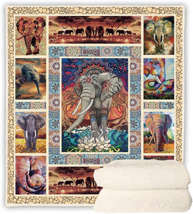 安い 激安 プチプラ 高品質 BEDBLK Bohemian Elephant Sherpa Blanket Fleece WEB限定 Cozy Warm T Plush