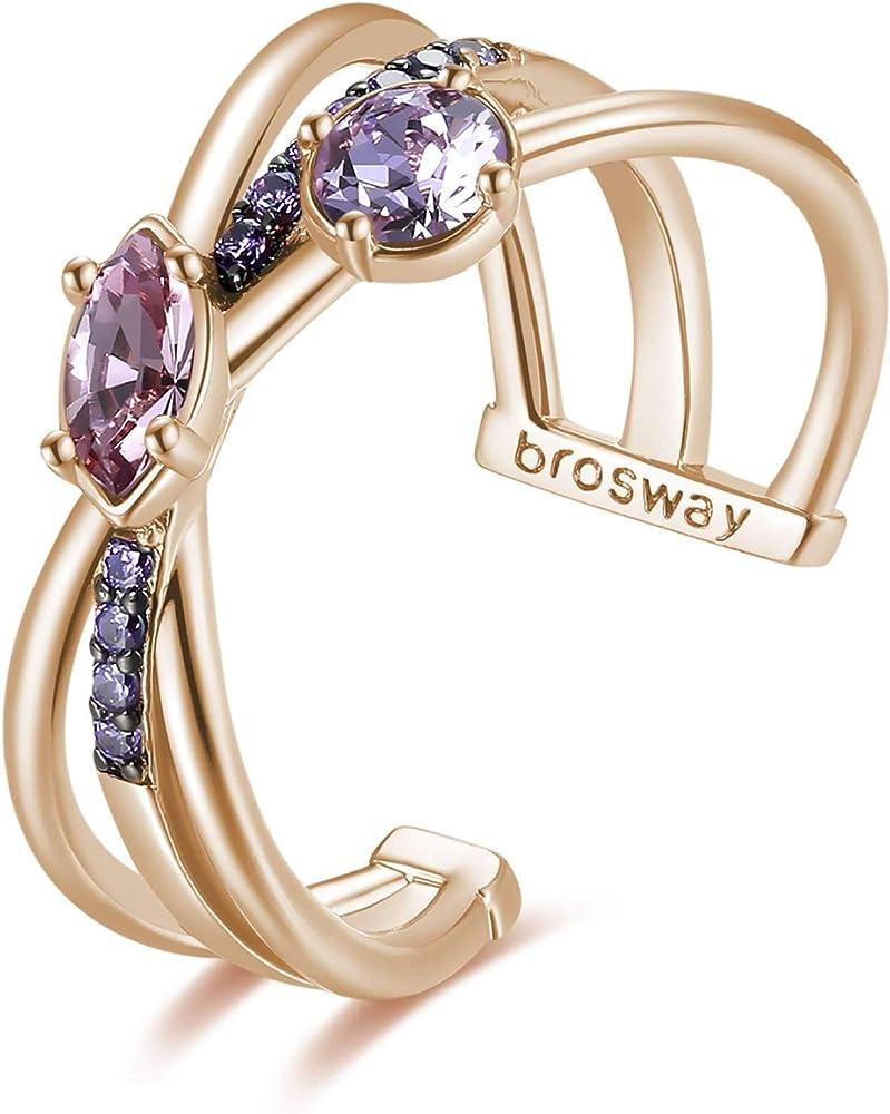 Brosway affinity anello per donna in ottone rodiato e galvanica oro rosa con zirconi viola e cristalli swarovs BHK396