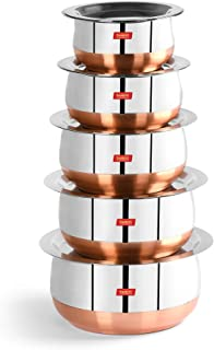 Sumeet Stainless Steel Copper Bottom Belly Shape 5 Pc Tope / Cookware/ Pot Set with Lid 380ML, 500ML, 780ML, 1.1Ltr, 1.4Lt...