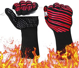 932℉ Extreme Heat Resistant BBQ Gloves, Food Grade Kitchen Oven Mitts - Flexible Oven Gloves, Silicone Non-Slip Cooking Hot Glove for Grilling, Baking (Red, Palm Width 4.9 in)