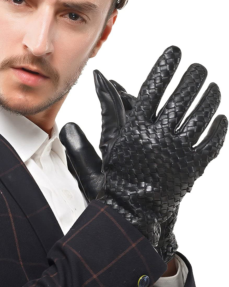 Long Beach Mall Nappaglo Men's Genuine Nappa Attention brand Touchscreen Hand-kni Leather Gloves