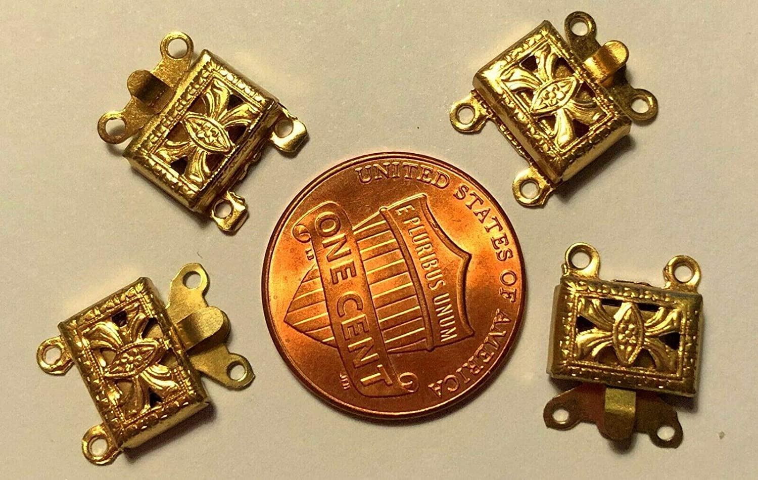 Save money Lot of 4 Gold Tone Metal Beauty products 2 Strand Long Box 9.8mm Clasps 7.3mm