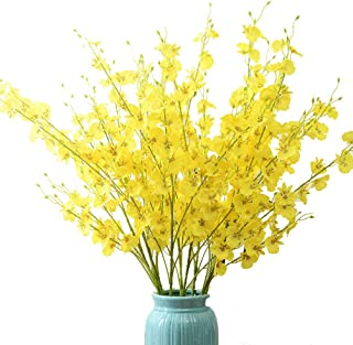 Sunrisee 10 Pieces Artificial Flowers 37.4 Inches Fake Dancing Lady Orchid Butterfly Flower for Wedding Home Decoration, Yellow