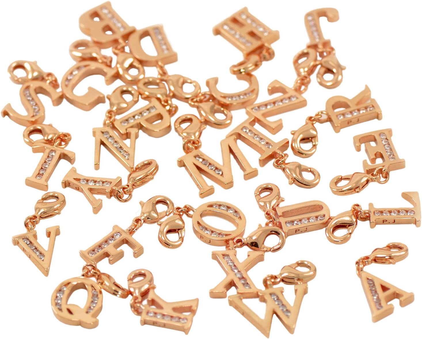 Lobster Clasp Clip On Initial Charms Dangle Cubic Zirconia Letter P, Rose Gold Plating