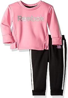 Reebok Baby Girls 2 Piece Spun Poly Fleece Sweatshirt and Matching Jog Pant