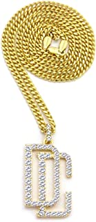 Pyramid Jewelers Mens New Iced Out Dream Chaser DC Pendent Box,Rope,Cuban Chain Necklace