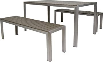Christopher Knight Home Butler Outdoor Aluminum Picnic Set with Faux Wood Top, Silver and Natural