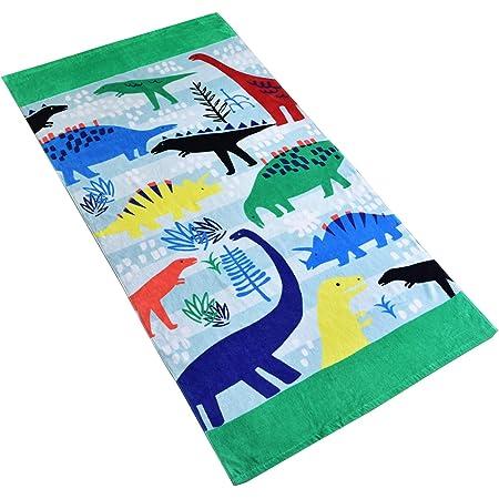 Baogaier Serviette de Plage Dinosaure - Serviette de Bain - 80 X 160 cm Vert Coton Grande Coverture de Plage Piscine Douce Absorbante pour Enfant & Adulte d'eau Voyage Vacances Plage Cadeau